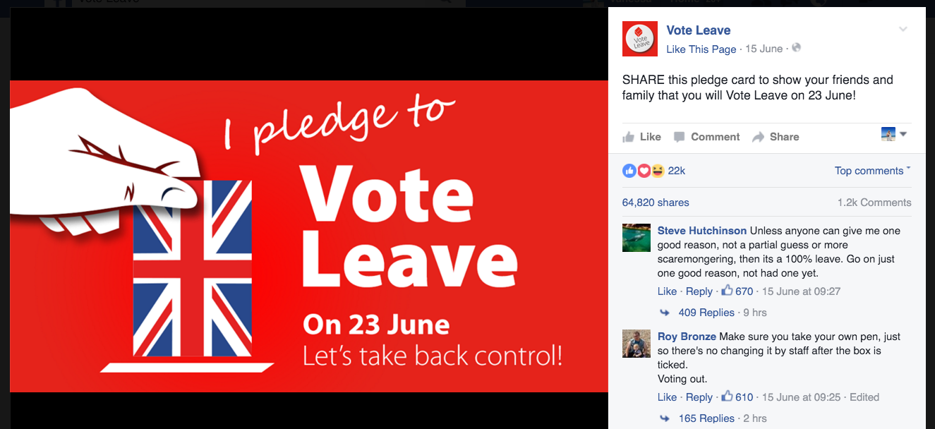 """Vote Leave's best performing image """"I pledge"""" with 1,200+ comments, 64,820 shares and 22,000+ likes."""