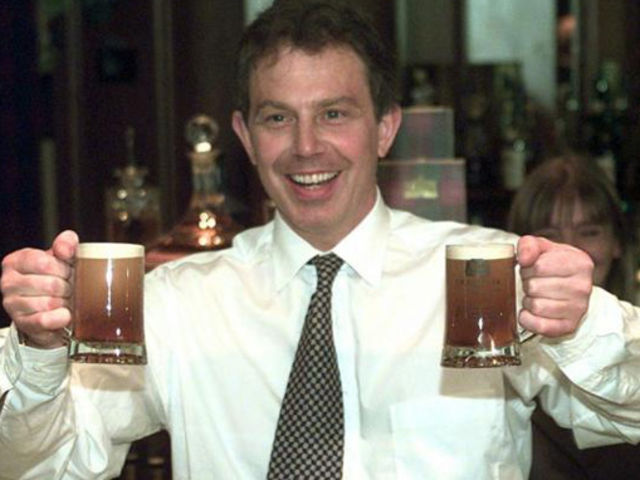 Tony Blair demonstrates tip five in action, be the one to buy the drinks.