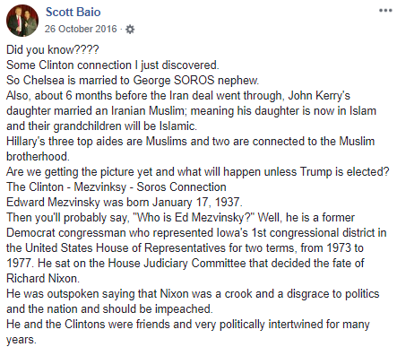 An excerpt of a Facebook status shared by influential right-wing actor Scott Baio. All the claims are incorrect. The status was shared more than 28,000 times.