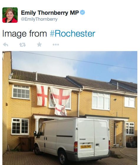 MP Emily Thornberry, was caught out in 2014 when she tweeted this picture on a trip to Rochester and was pressured into resigning from her shadow ministerial position the same day