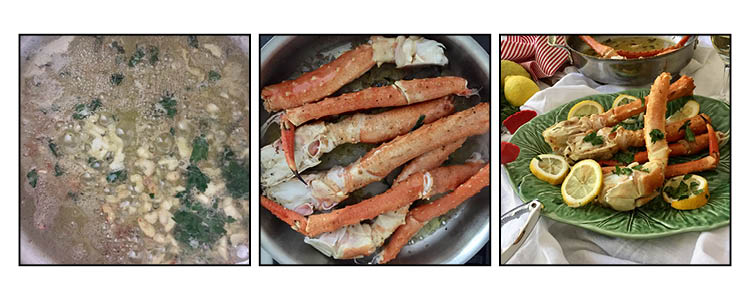 Steamed king crab legs, step by step