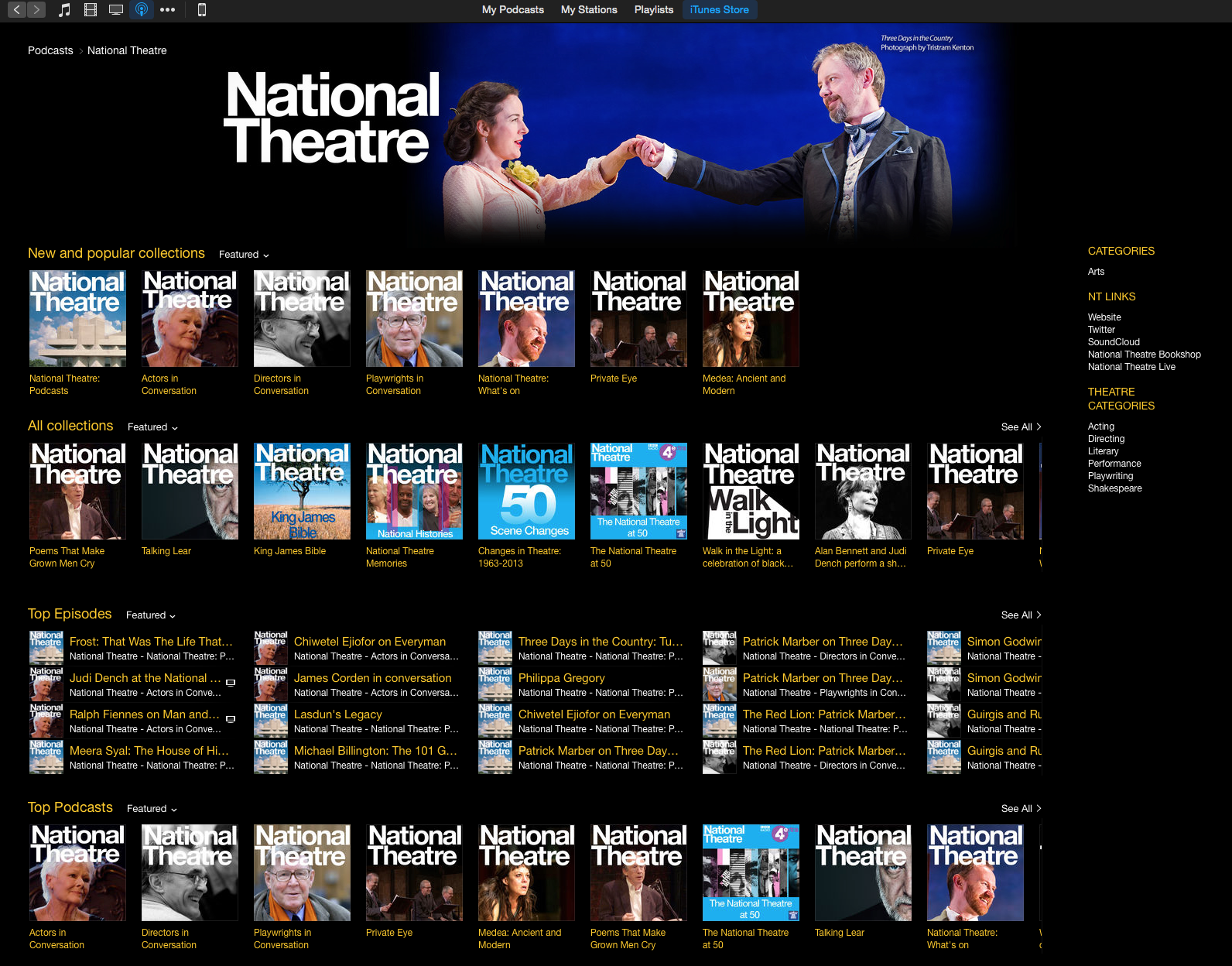 The National Theatre's itunes podcasting platform, built and curated by Maya