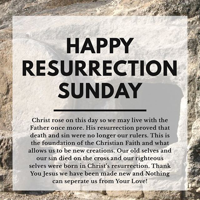 "Happy Resurrection Sunday Family! ""What, then, shall we say in response to these things? If God is for us, who can be against us? He who did not spare his own Son, but gave him up for us all—how will he not also, along with him, graciously give us all things? Who will bring any charge against those whom God has chosen? It is God who justifies. Who then is the one who condemns? No one. Christ Jesus who died—more than that, who was raised to life—is at the right hand of God and is also interceding for us. Who shall separate us from the love of Christ? Shall trouble or hardship or persecution or famine or nakedness or danger or sword? As it is written: ""For your sake we face death all day long; we are considered as sheep to be slaughtered."" No, in all these things we are more than conquerors through him who loved us. For I am convinced that neither death nor life, neither angels nor demons, neither the present nor the future, nor any powers, neither height nor depth, nor anything else in all creation, will be able to separate us from the love of God that is in Christ Jesus our Lord."" ‭‭Romans‬ ‭8:31-39‬ ‭NIV‬‬"