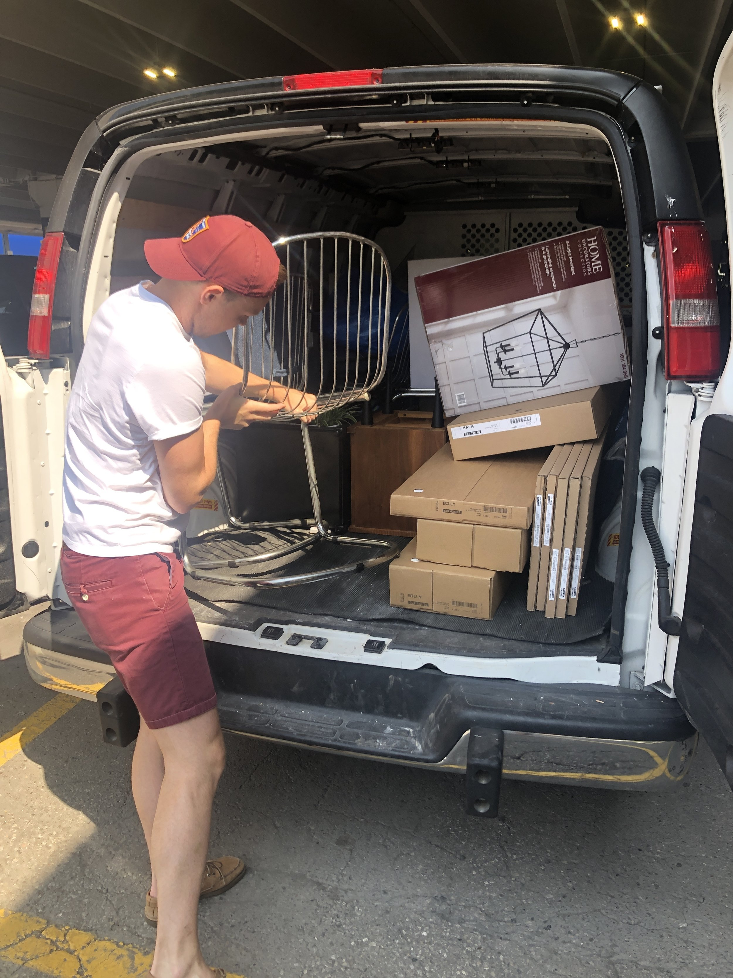 Loading up our rental van. This always feels like designer Tetris.