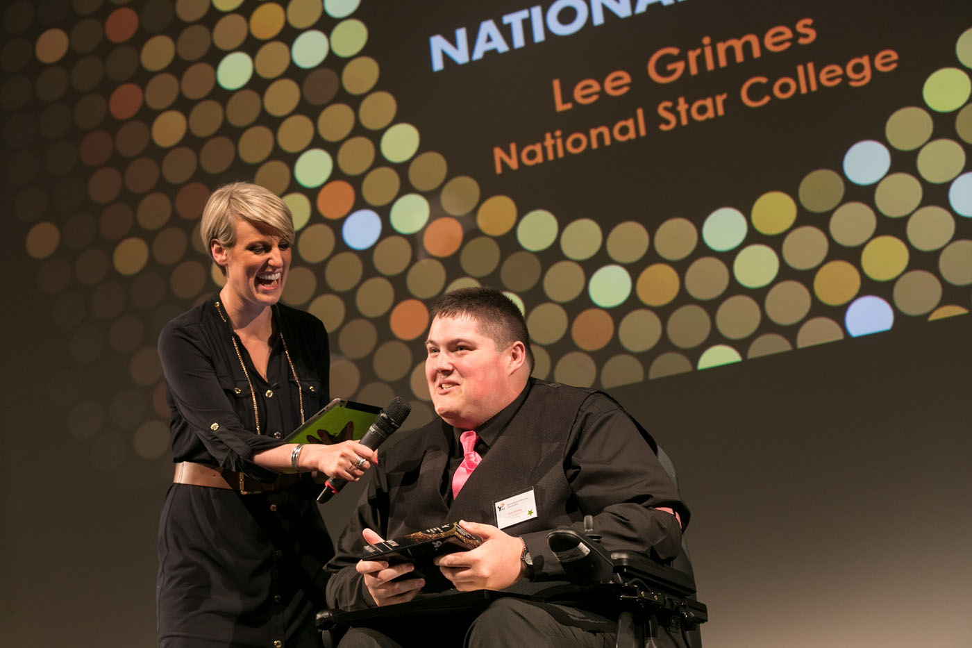Lee Grimes from National Star College, picking up his special achievement award.