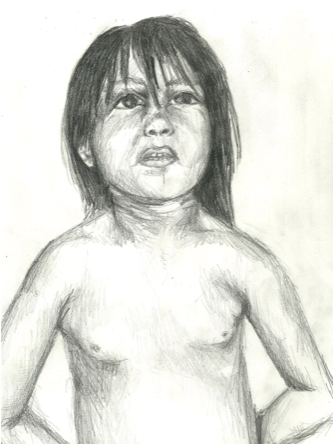 A drawing I did from a photograph of a Native American boy