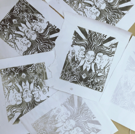 School Work: Expanding my illustrative voice to new mediums–linocut and woodcut printmaking.