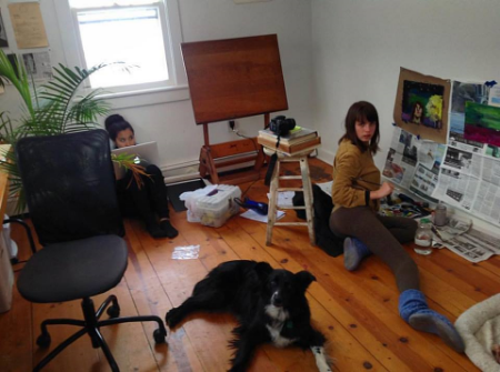 Busting my butt this week, with my mentee Naho Hirohata, baby sister Mary Wedd and dog Bear, who are taking over my home studio, in an effort to finish their Senior Projects on time, while I work remotely for Camp Now and others! They are also interns at Camp Now.