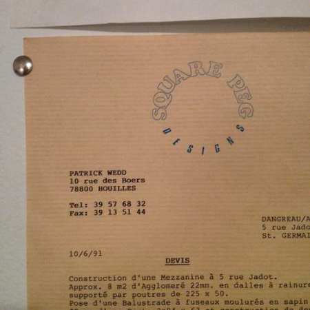 My late father's invoice, from his early days as an artist and woodworker in Paris, France, including his logo, which mine is based on.