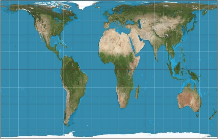 Gall-Peter's Projection Map, showing actual size of continents by area