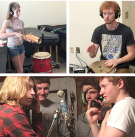 "My daughter and her boyfriend recording percussion tracks while my son and his friends provide lay down some chanting on my song ""One""."