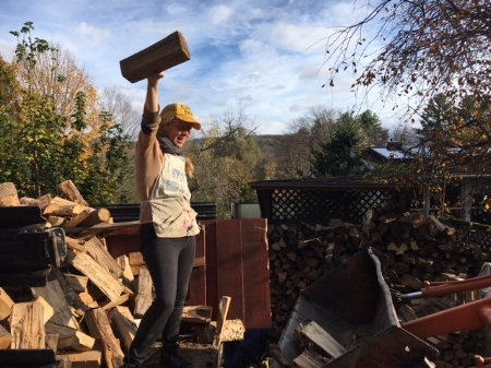 Photo by J.R.B. October 21st, 2016. Stacking wood at the Camp Now Art Farm is one of my favorite new ways to spend my Time.