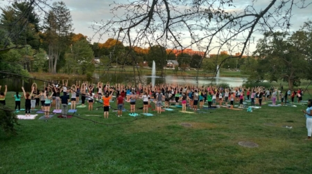 A yoga class I taught at UConn with the help of my club.