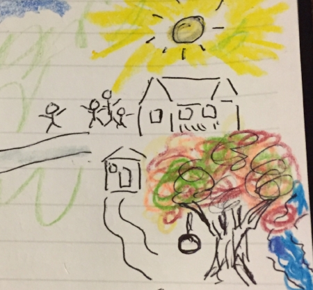 """My """"cave drawing"""" of arriving at the Art Farm. Artistic talent issues aside, drawing in my journal remains a great tool for visualization."""