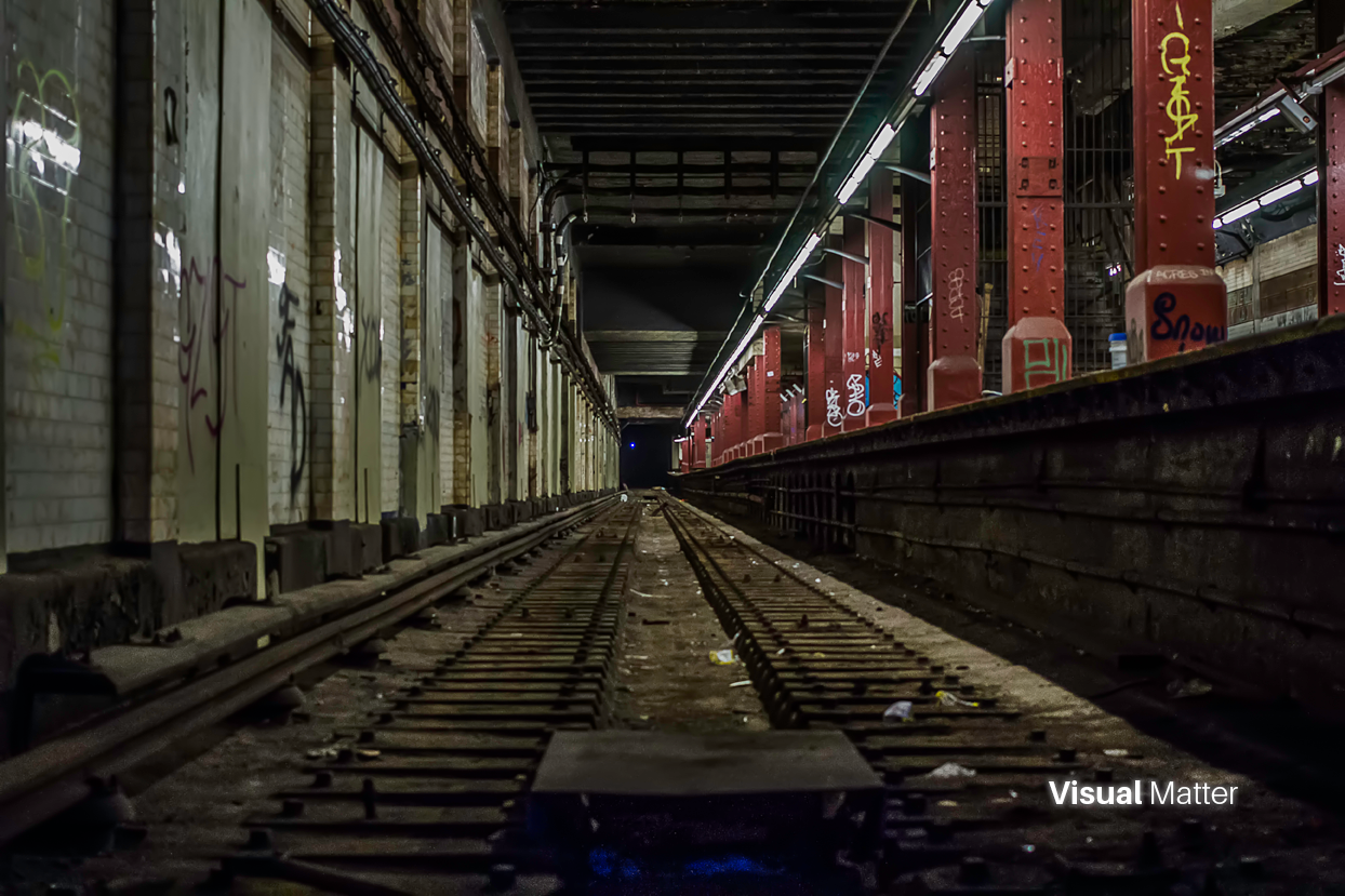 Here's a low angle view of the tracks on the abandoned Bowery subway platform in NYC