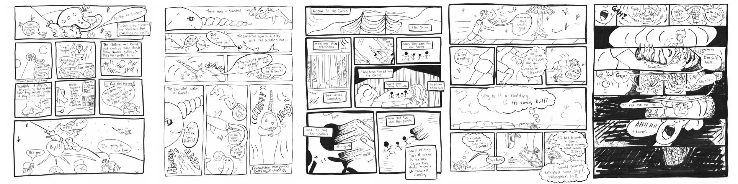 (Above are collaboration comics that I (Cari) drew from scripts written by my students. The students writing these scripts are roughly aged 8 to 17.)