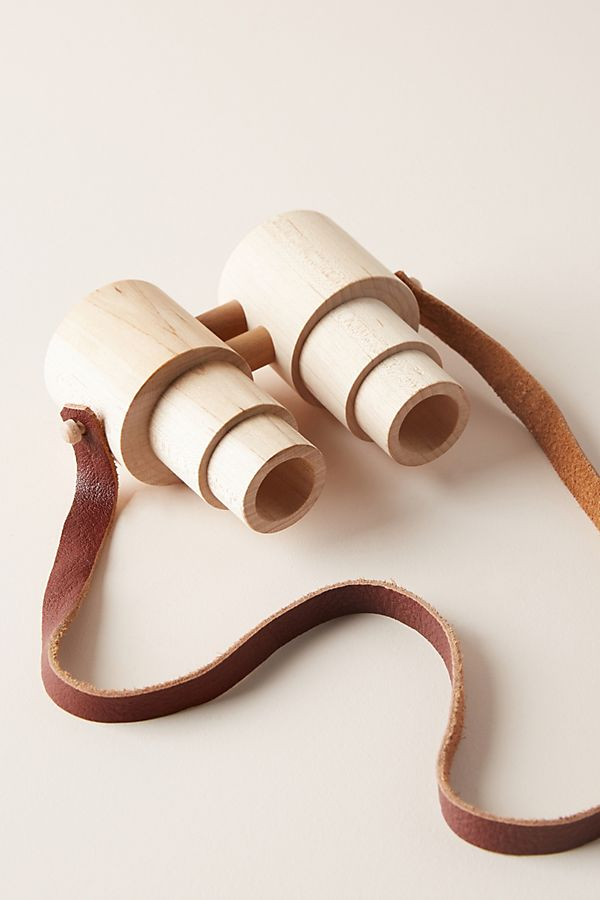 Wood binoculars with leather strap