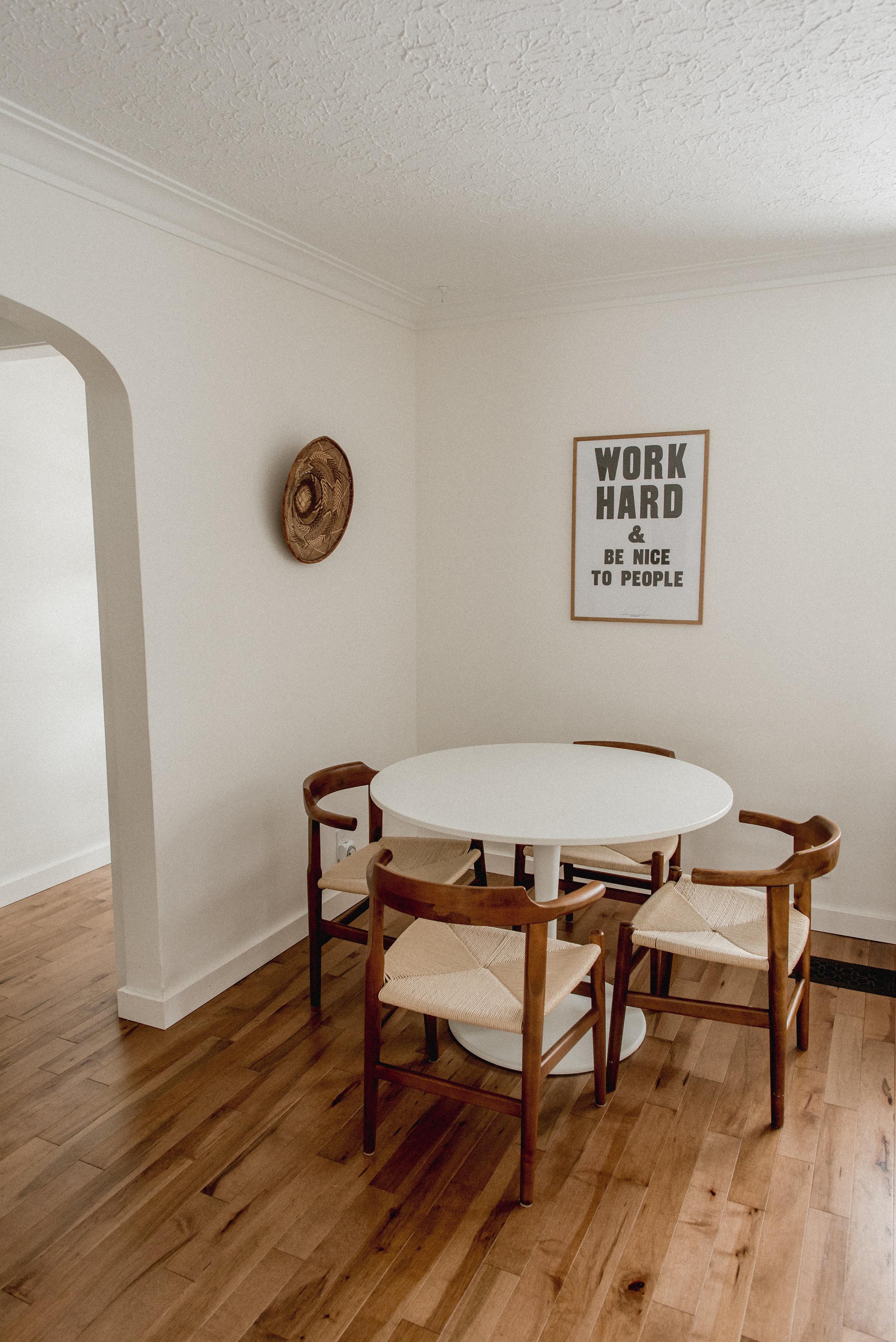 Minimalist dining room in scandinavian home