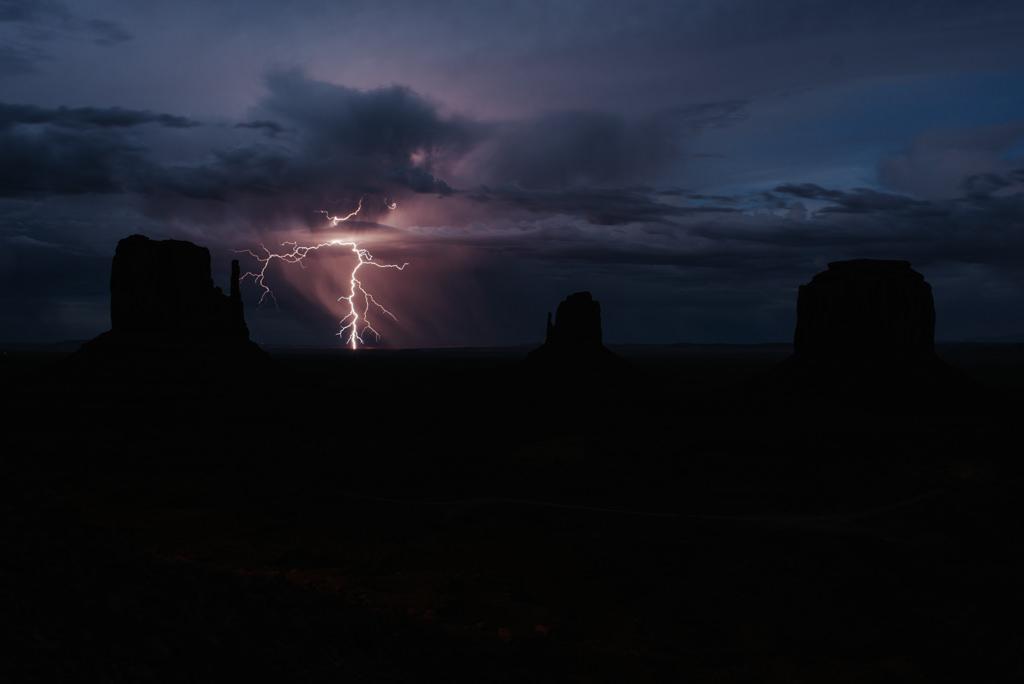 Lightning strike in Monument Valley during monsoon season