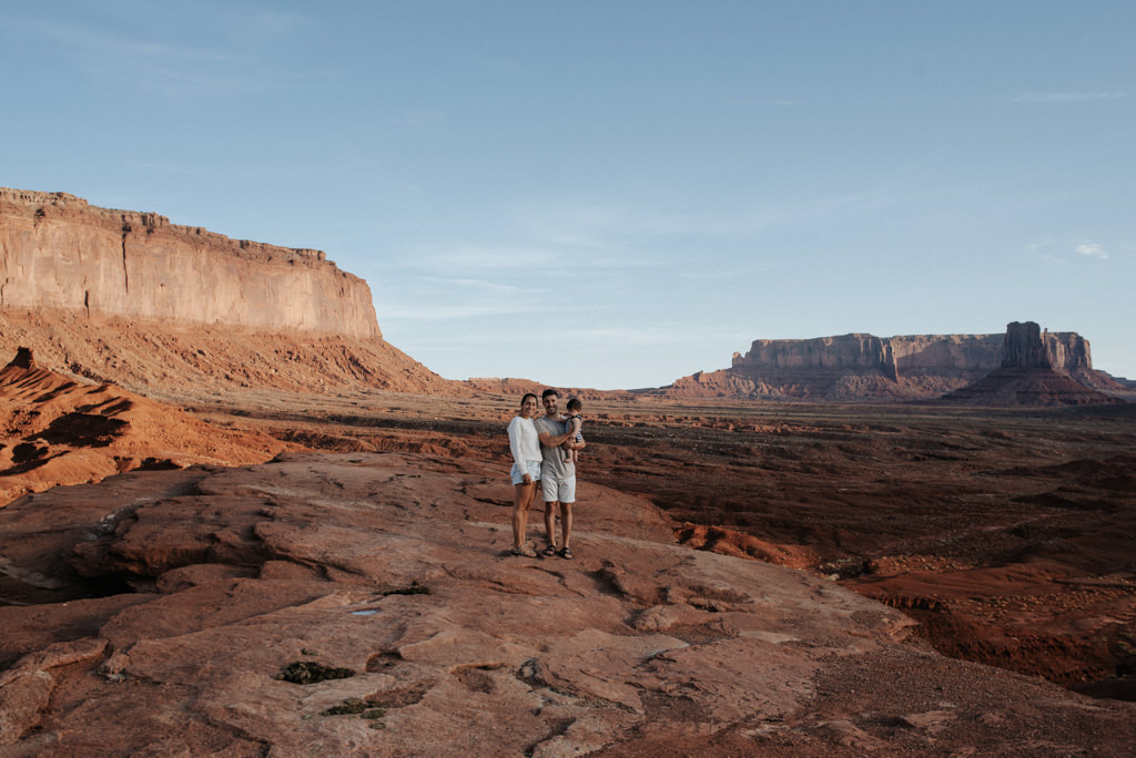 Young Family exploring Monument Valley