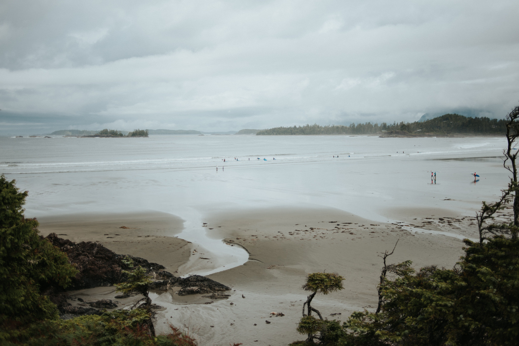 Foggy morning at Cox Bay in Tofino