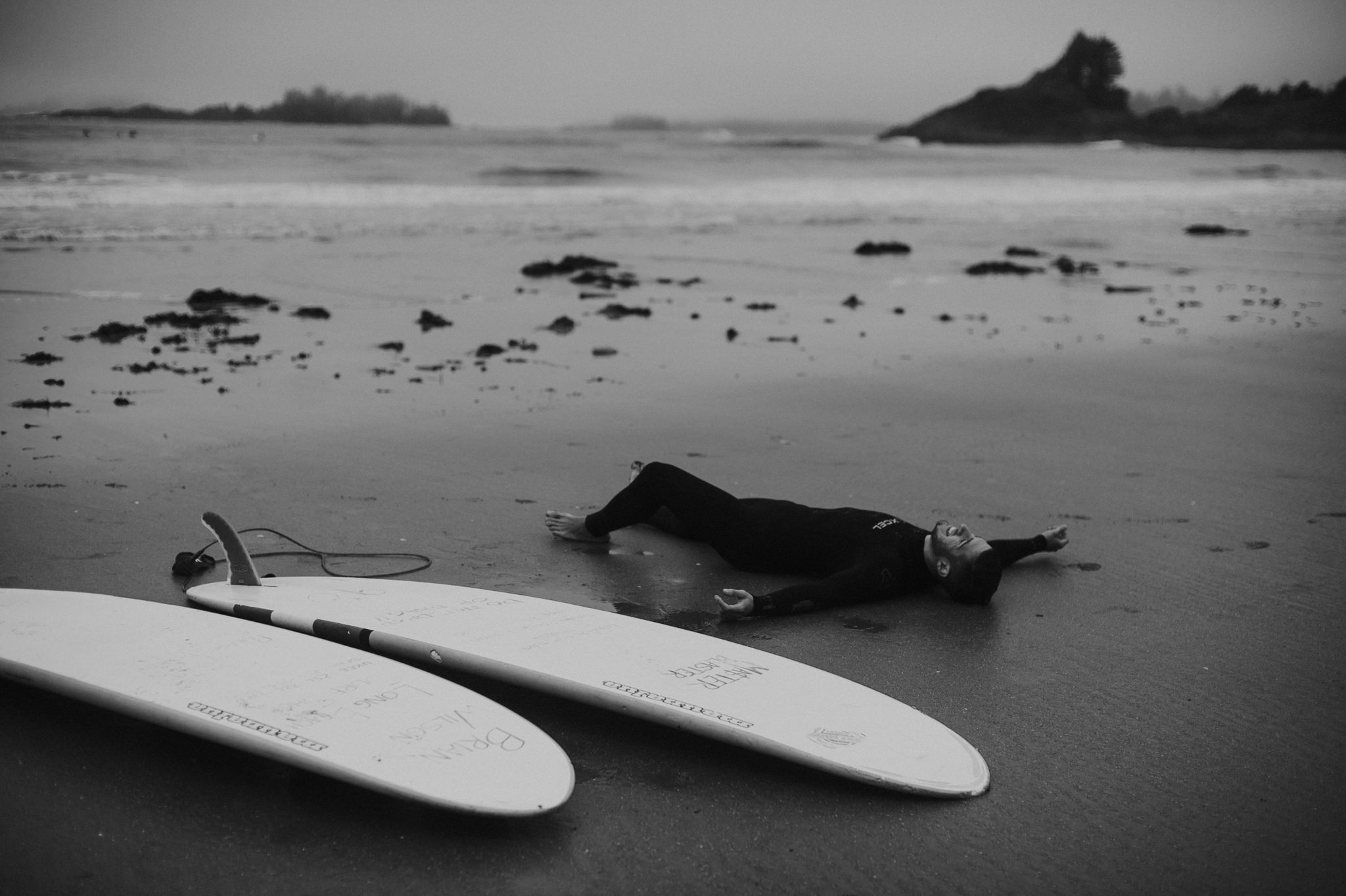 Surfer relaxing in Tofino