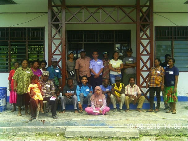 Diky (center in blue shirt) leading a workshop on potential fisheries management solutions for a small village in Raja Ampat, Indonesia.