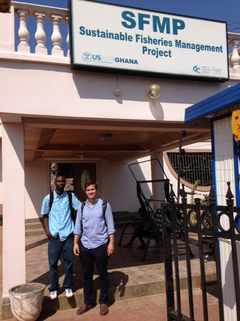 Max and Evans at the SFMP building in Ghana.