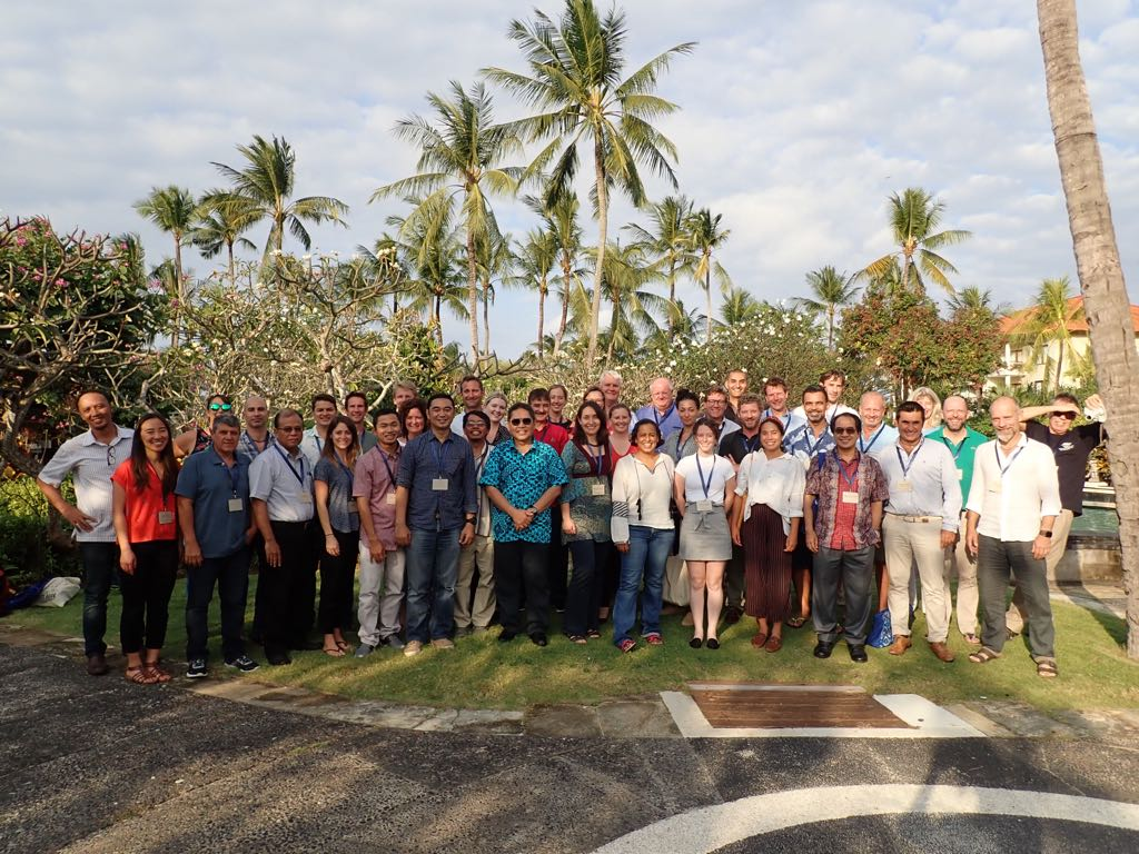 Research Associate Lauren Josephs with URI collaborators Amelia Moore and PhD student Jess Vandenberg pose for a group photo at the end of the Mars, Inc. coral reef restoration workshop in Bali.