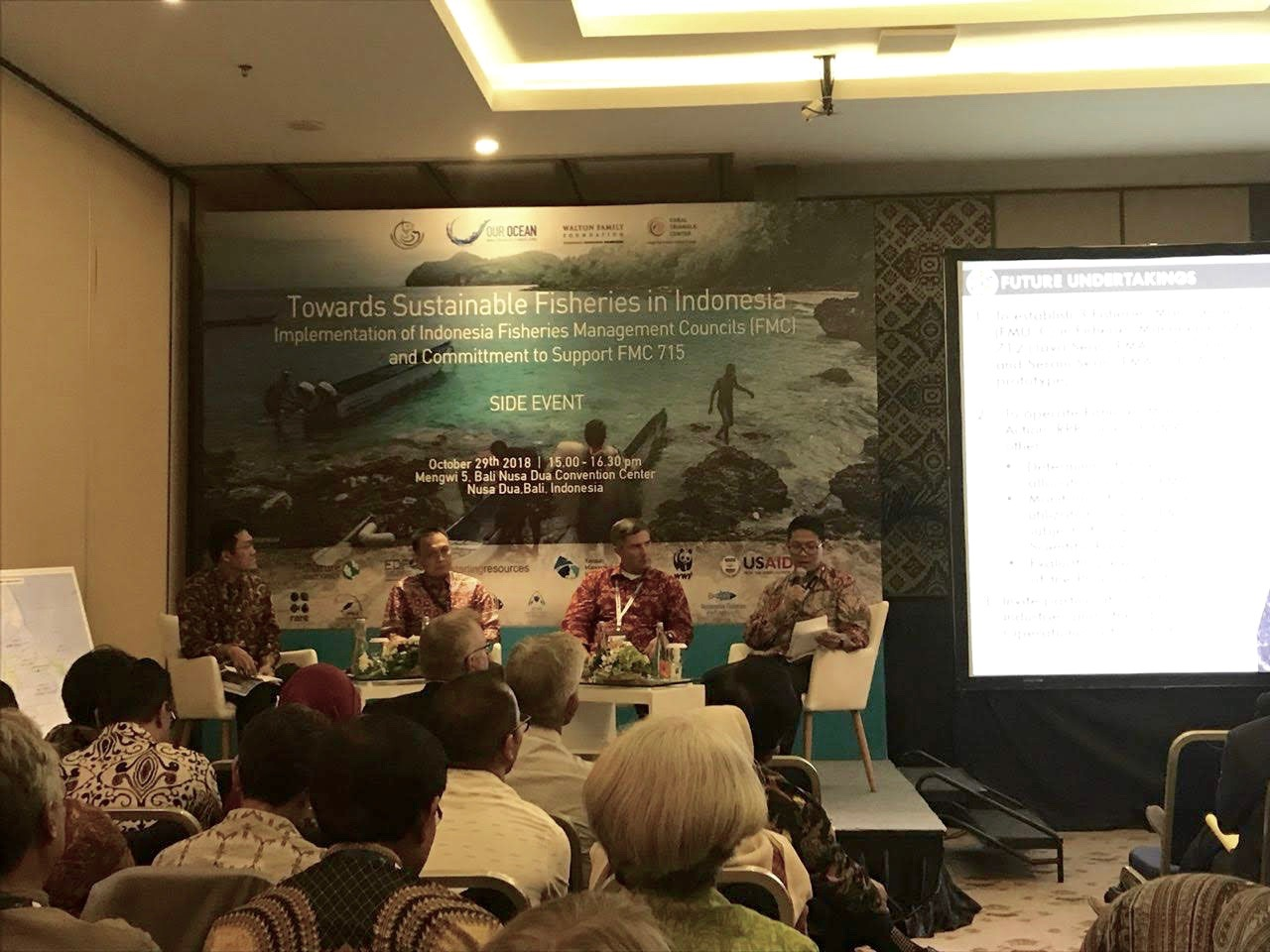 Officials discuss future tasks for achieving sustainable fisheries management in Indonesia during the Our Ocean 2018 conference.
