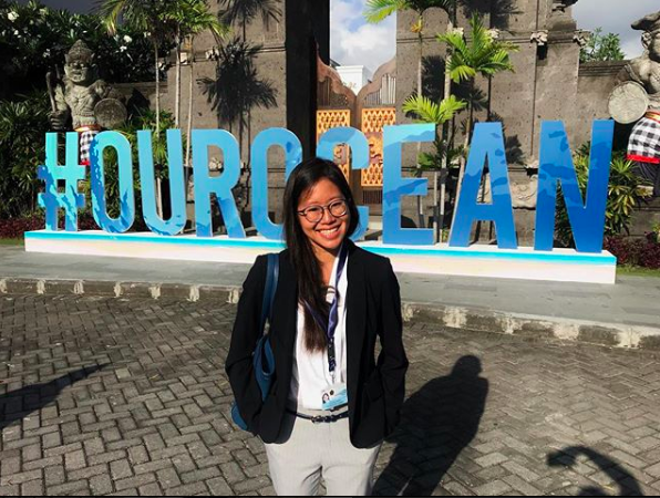 PhD student Elle Wibisono at the 2018 Our Ocean conference in Bali, Indonesia.