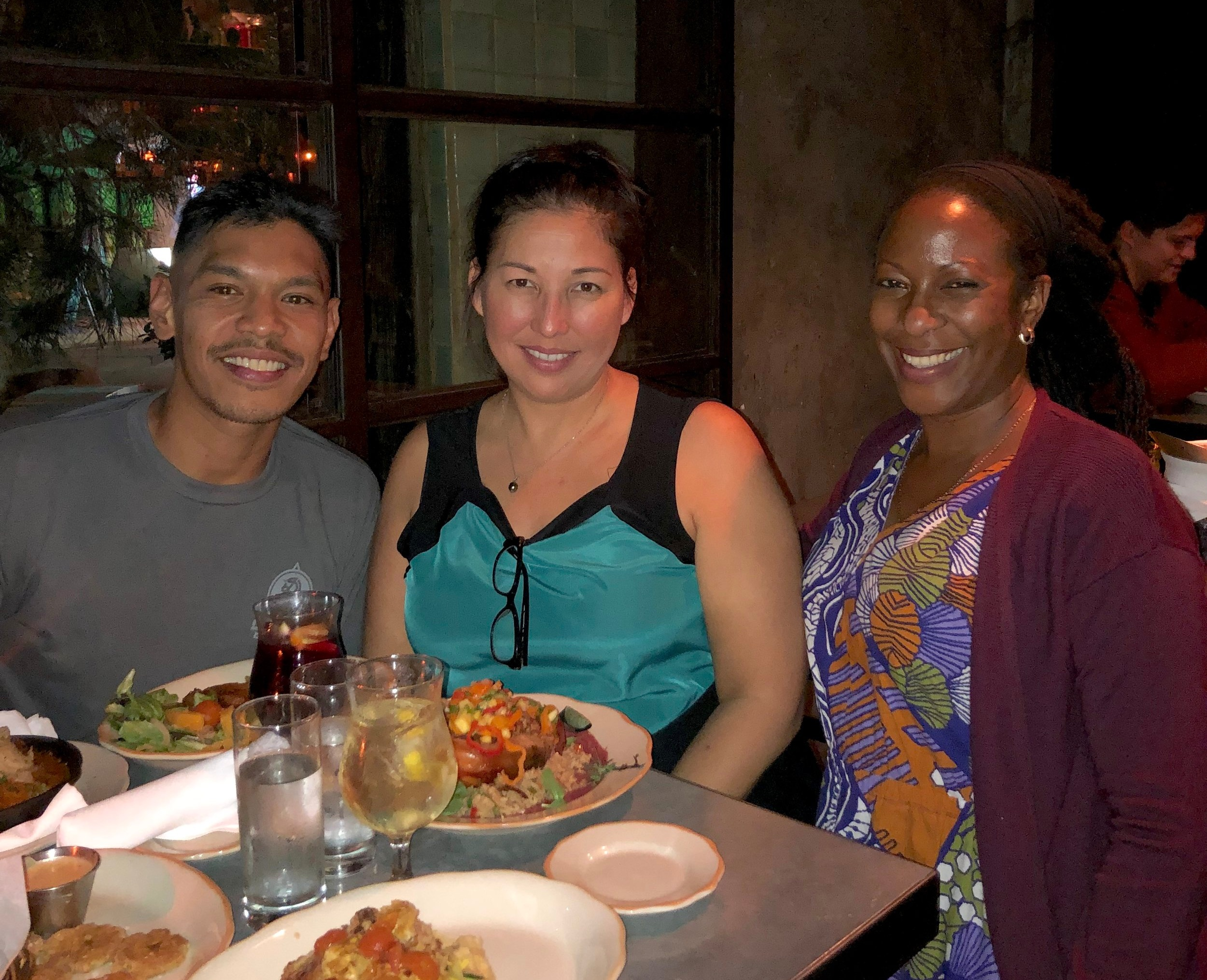 Kelvin reunites with a research mentor and former graduate school classmate from University of Hawaii for dinner after the SABER West conference.