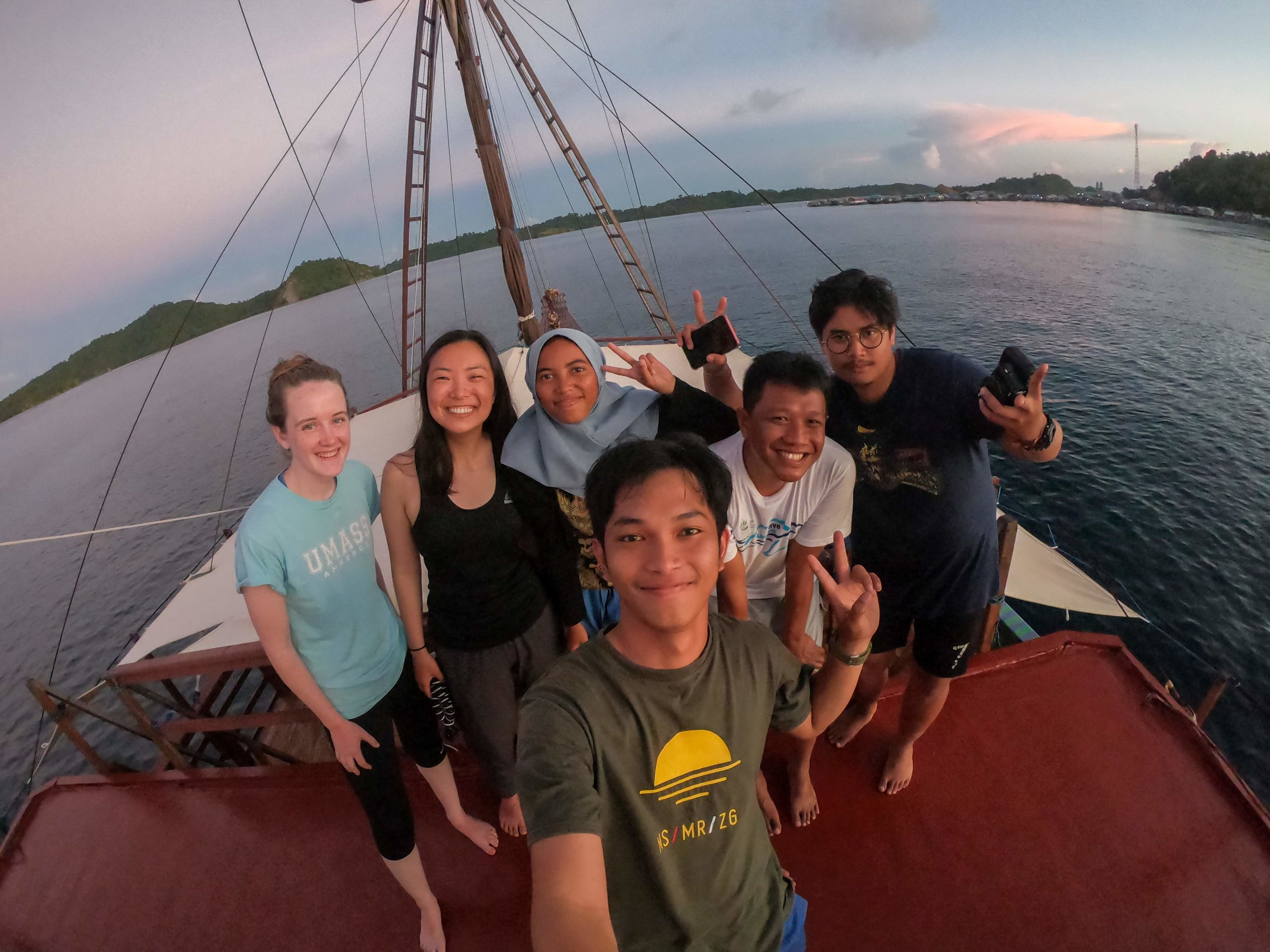 Graduate and undergraduate researchers (left to right) Erin, Elaine, Dije, Iqbal, Ubun, and Abby teamed up for fieldwork in Misool.