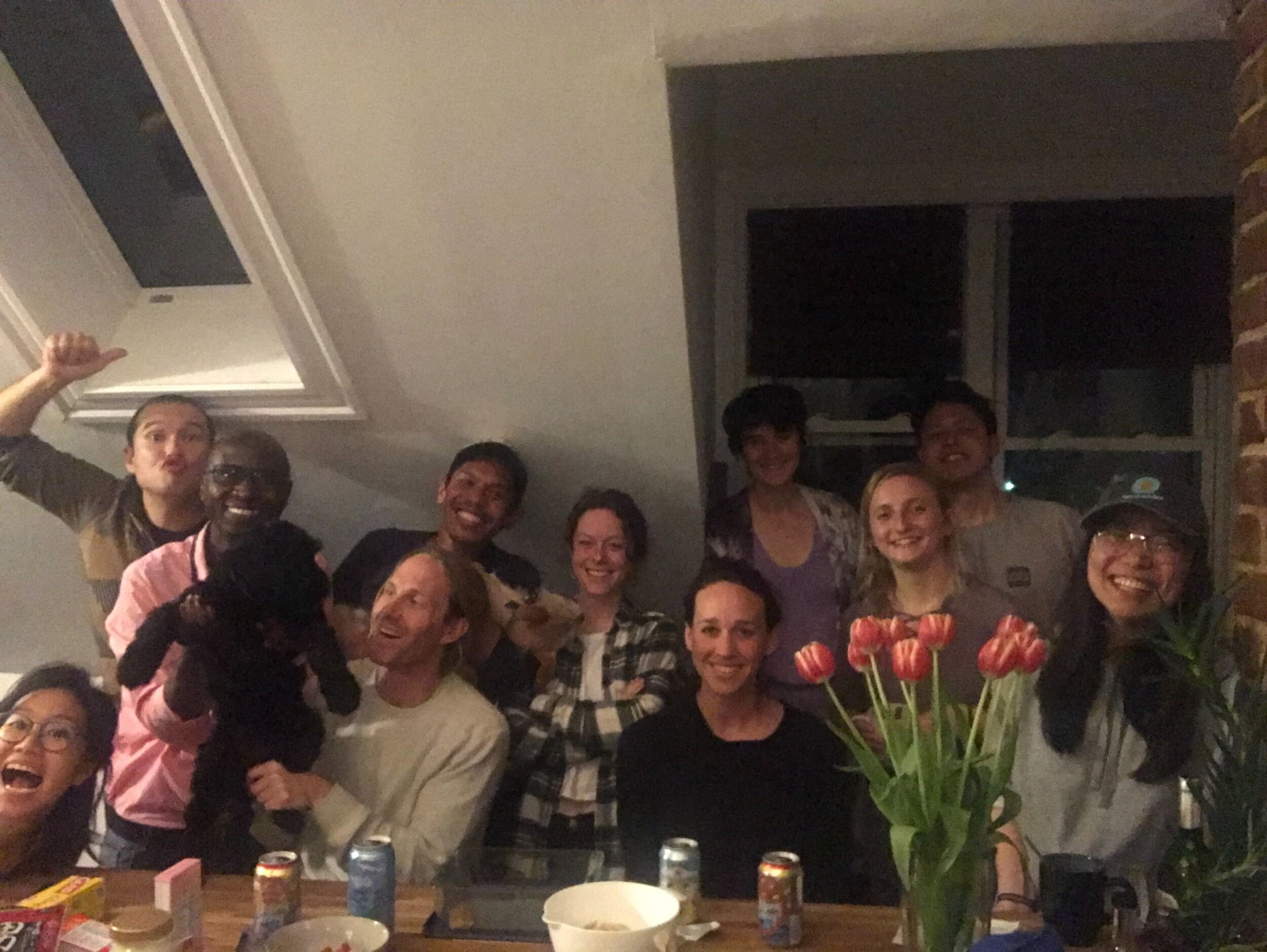 Lab dinner at Lauren's house with puppy Suki in late Summer 2019