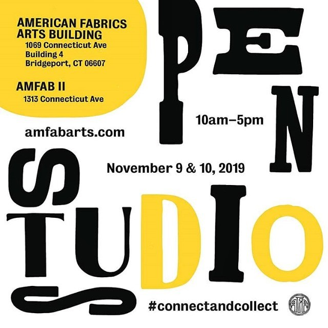 Always a fun day at the @amfabarts open studio tour.💛 Details below. ・・・ Two weeks from today!  Come visit with the artists / designers in two studio buildings. Check amfabarts.com or @amfabarts to see the contemporary art, design, and fine arts exhibited. Free and open to the public with musical performances, WPKN record sale, food trucks, and ample onsite parking!  PLUS: to benefit our neighbors, the Bridgeport Rescue Mission, a food and coat drive and art raffle!  #connectandcollect #amfabarts #artbuyers #artcollector #artcurator #artgalleries #artist #artstudio #artstagram #creativityfound #contemporaryart #emergingartist #fineart #modernart #todaysartreport #originalart #BridgeportCT #instaart #artgallery #amfab