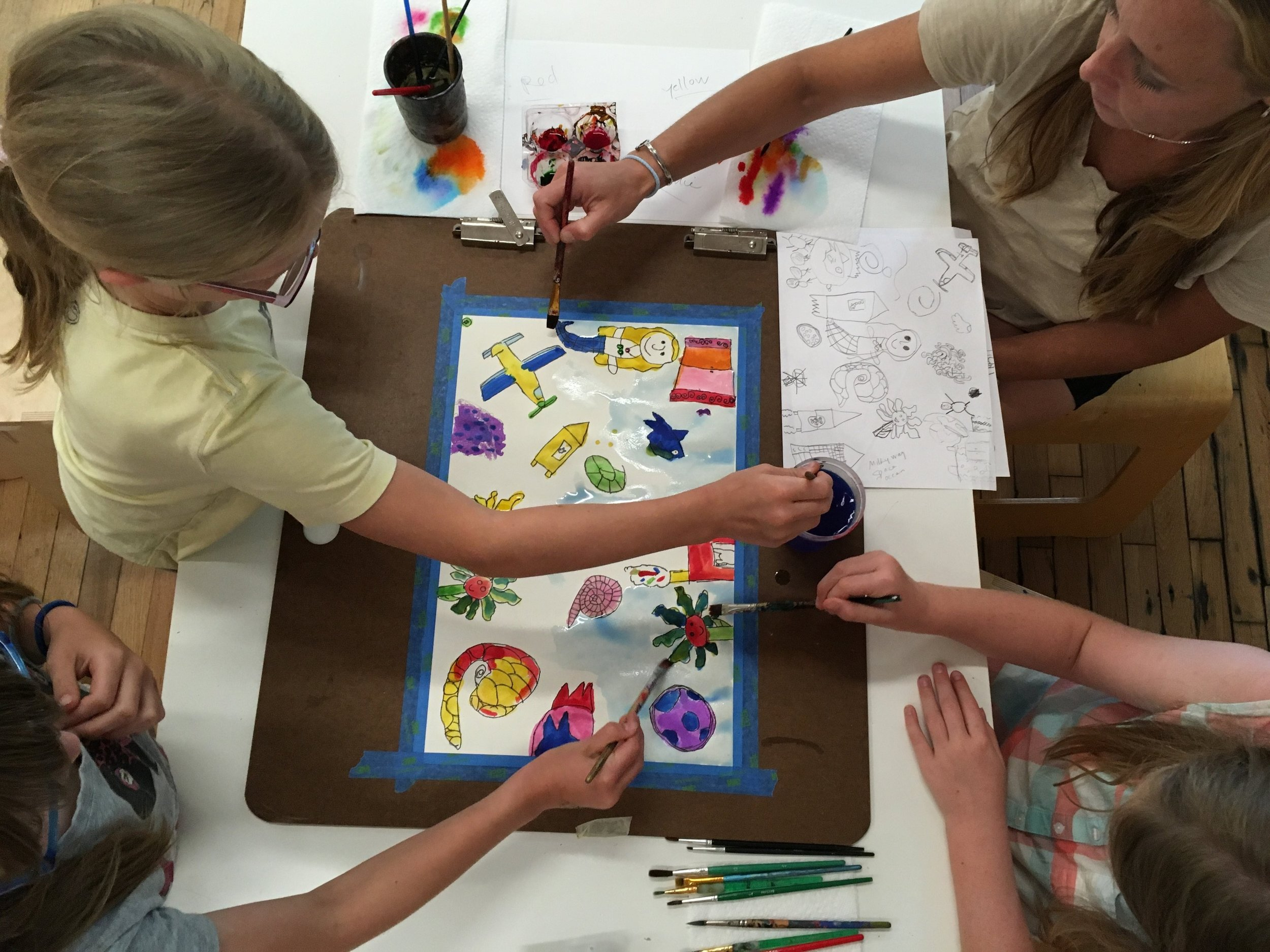 During this fun family art session, we created both individual and collaborative works!