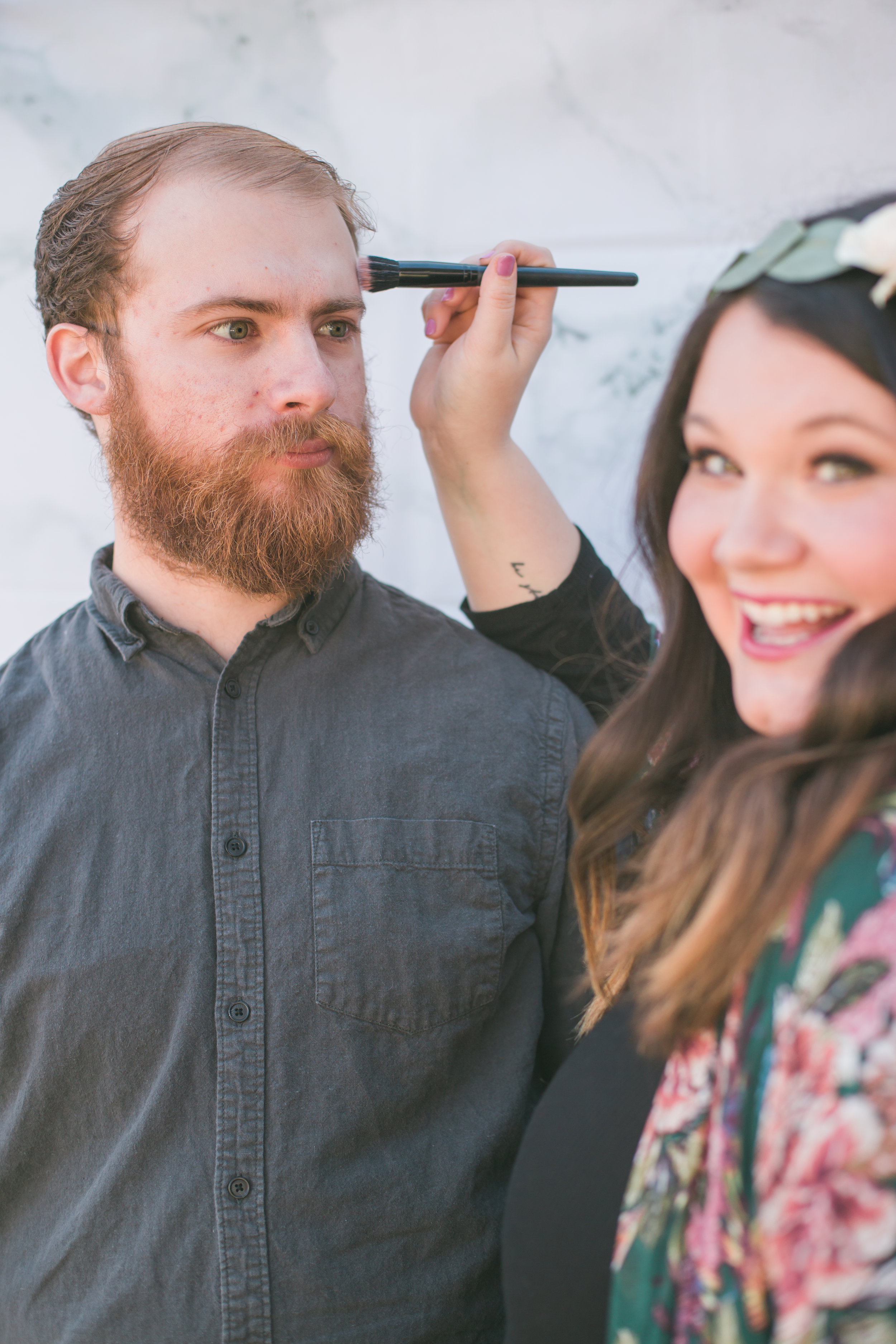 Here is a goofy picture of my hubby Kelsey and I. Don't worry, I do not do his makeup on the daily. He just humors me.  -