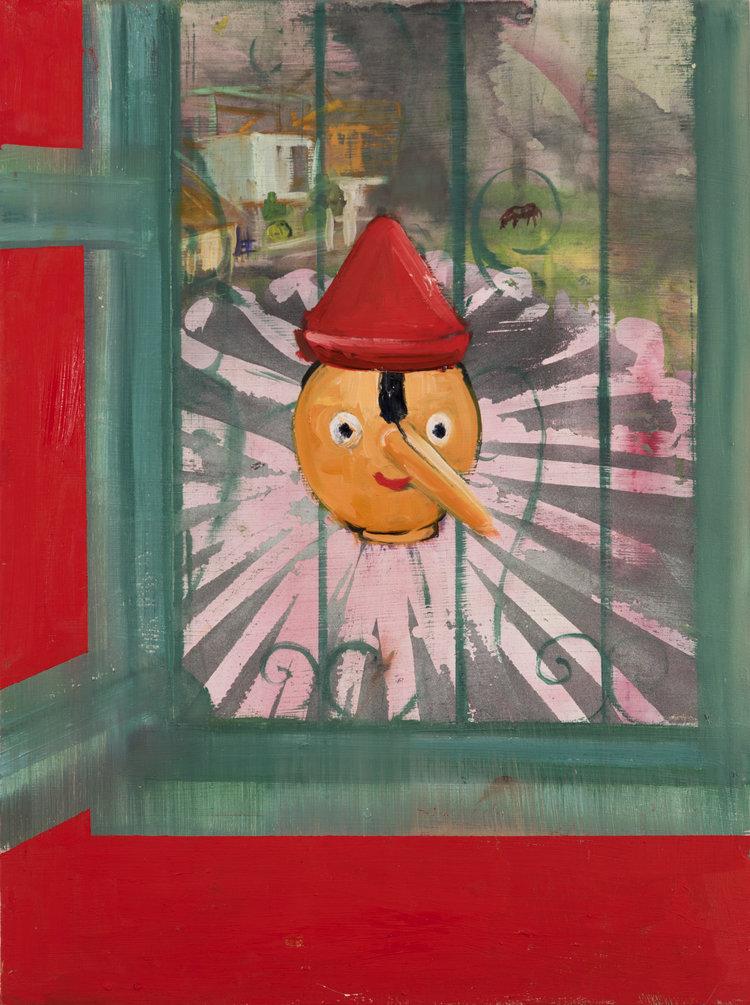 Pinocchio with Collar through Window, 2014-17