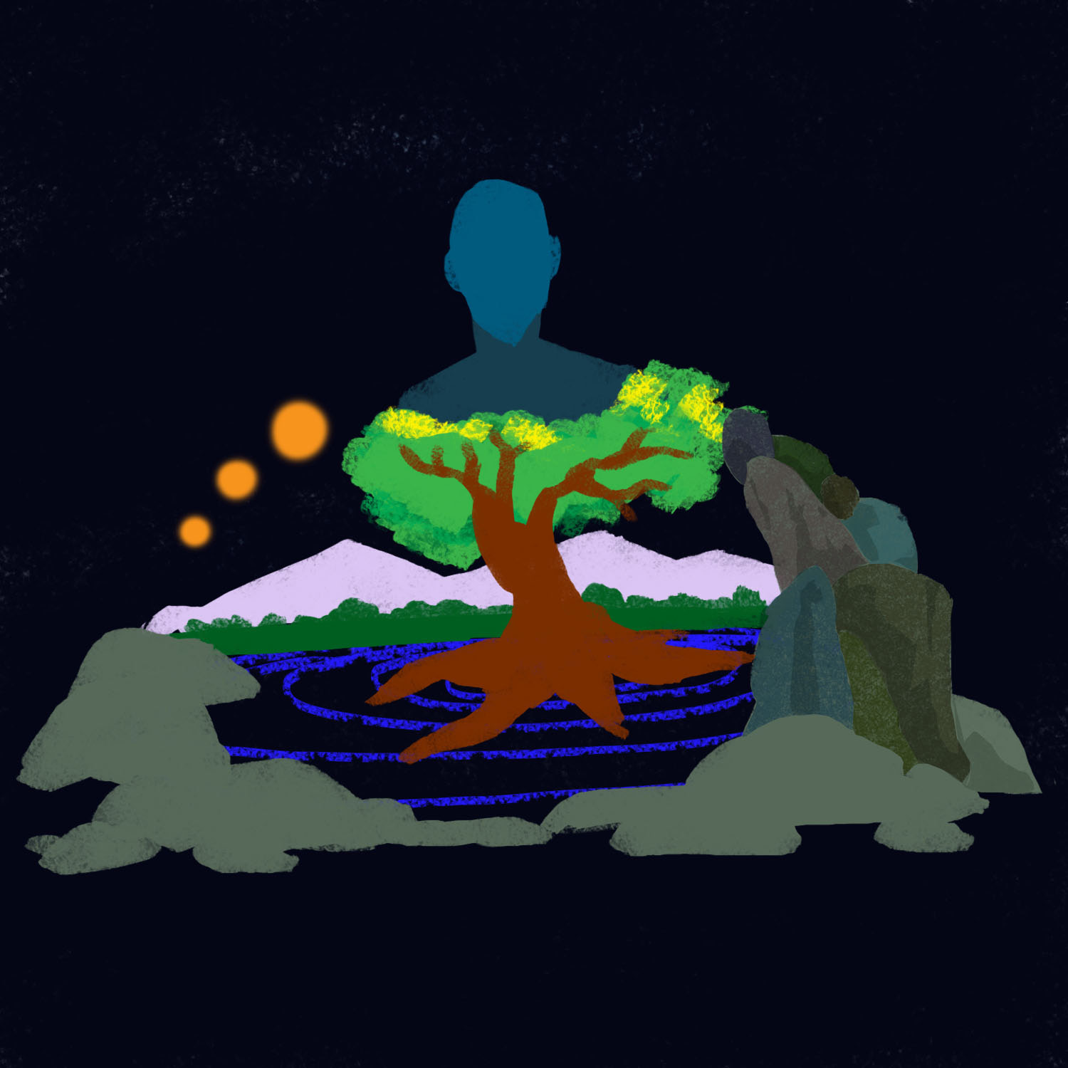 Concept Art: Five Elements An illustrated concept of five elements - earth, water, fire, air, space - that constitute both Man and the Universe. Based on ancient Indian philosophy.