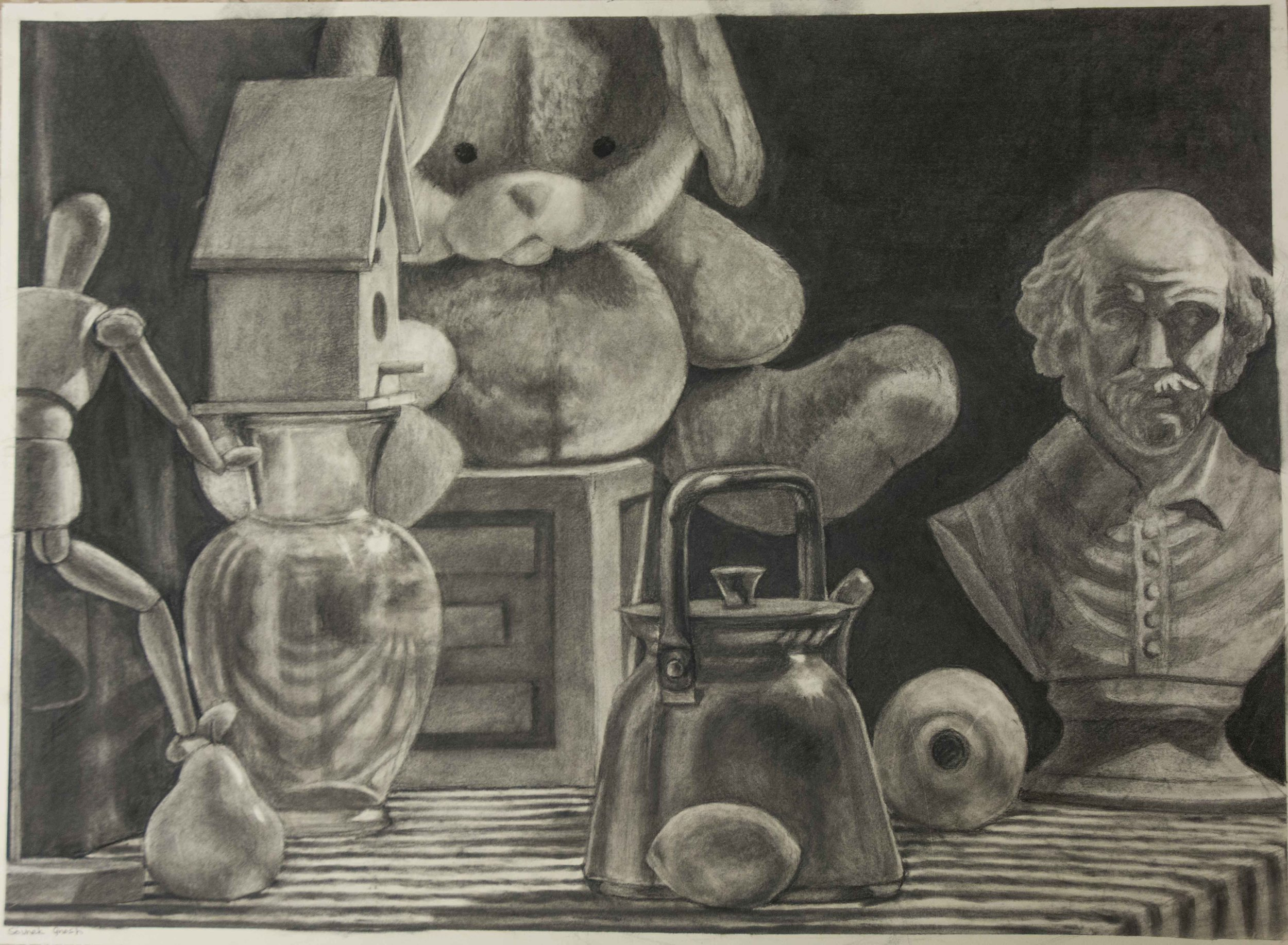 Still Life 30x22 inches using Charcoal