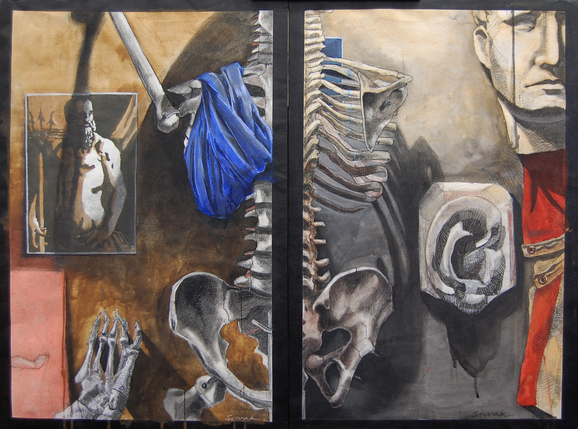 Diptych: Shadows of the Blue (left) and The Sound of No One Listening (right) 22x30 inches using watercolor, charcoal, graphite, pen and collage