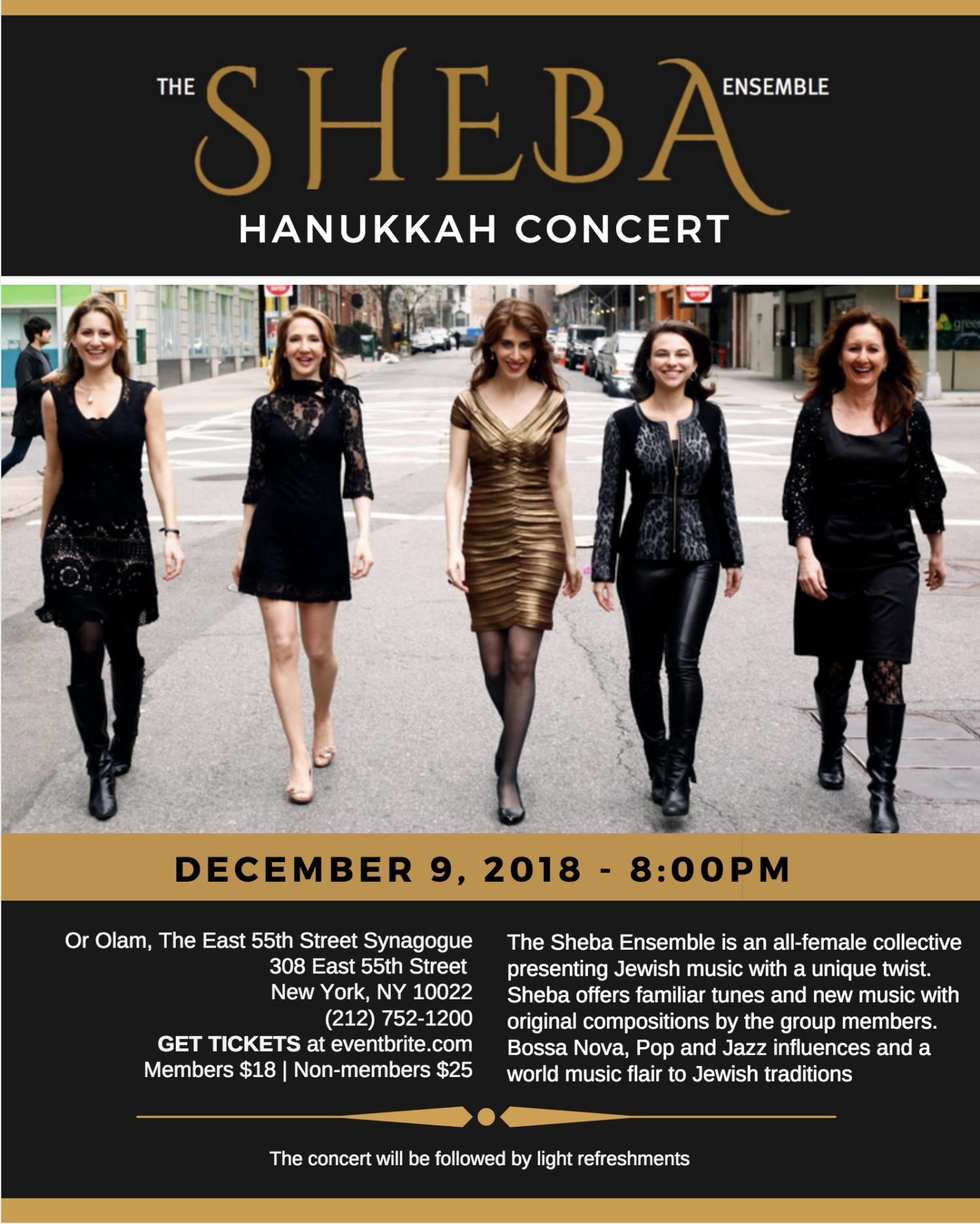 Hannukah Concert At Or Olam | Sheba  Ensemble