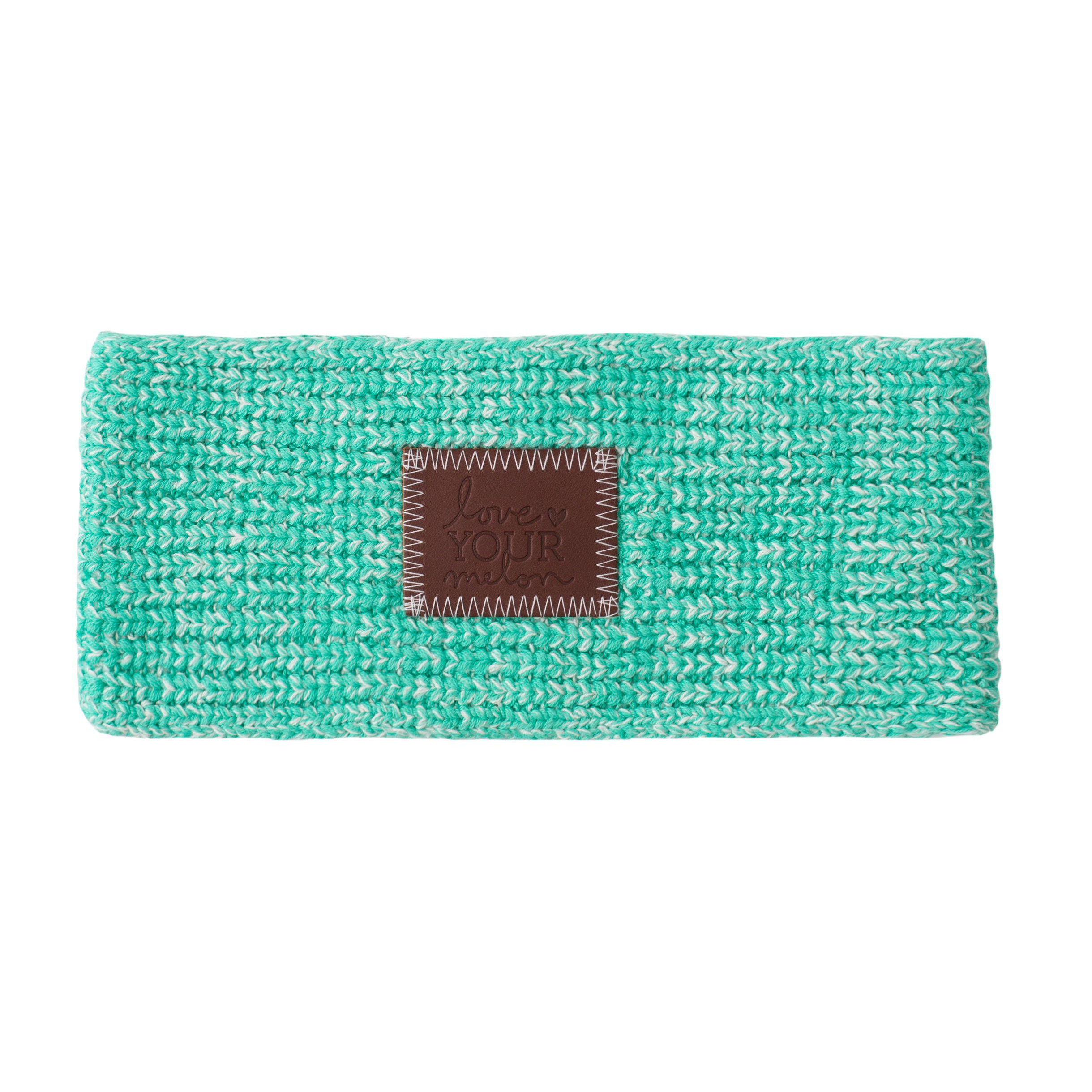 MINT AND WHITE SPECKLED KNIT HEADBAND