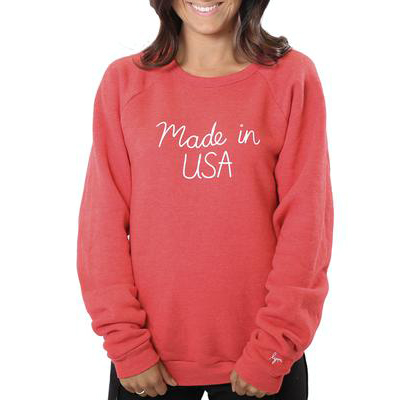 RED MADE IN USA CREW SWEATSHIRT