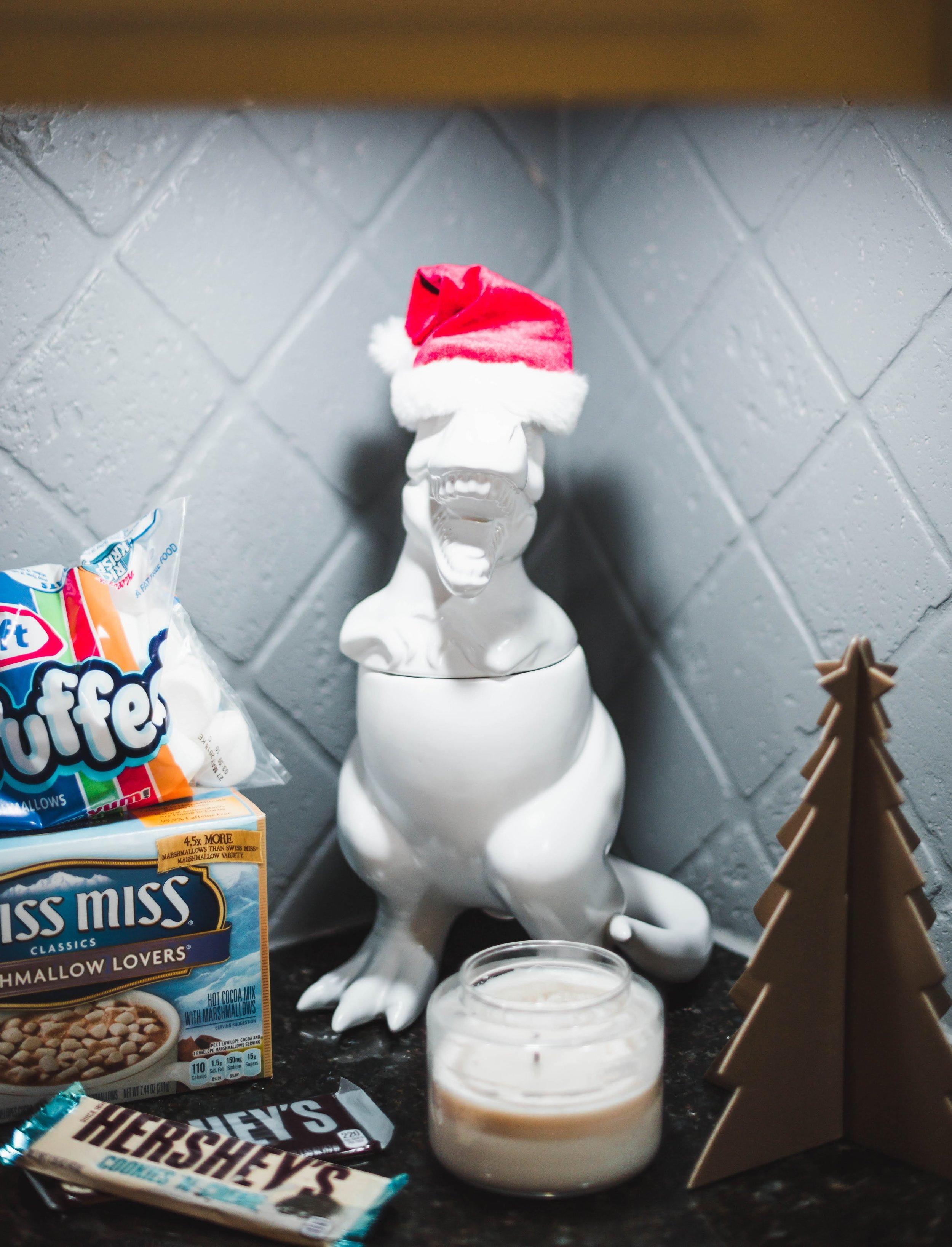 Dinosaur Christmas Cookie Jar