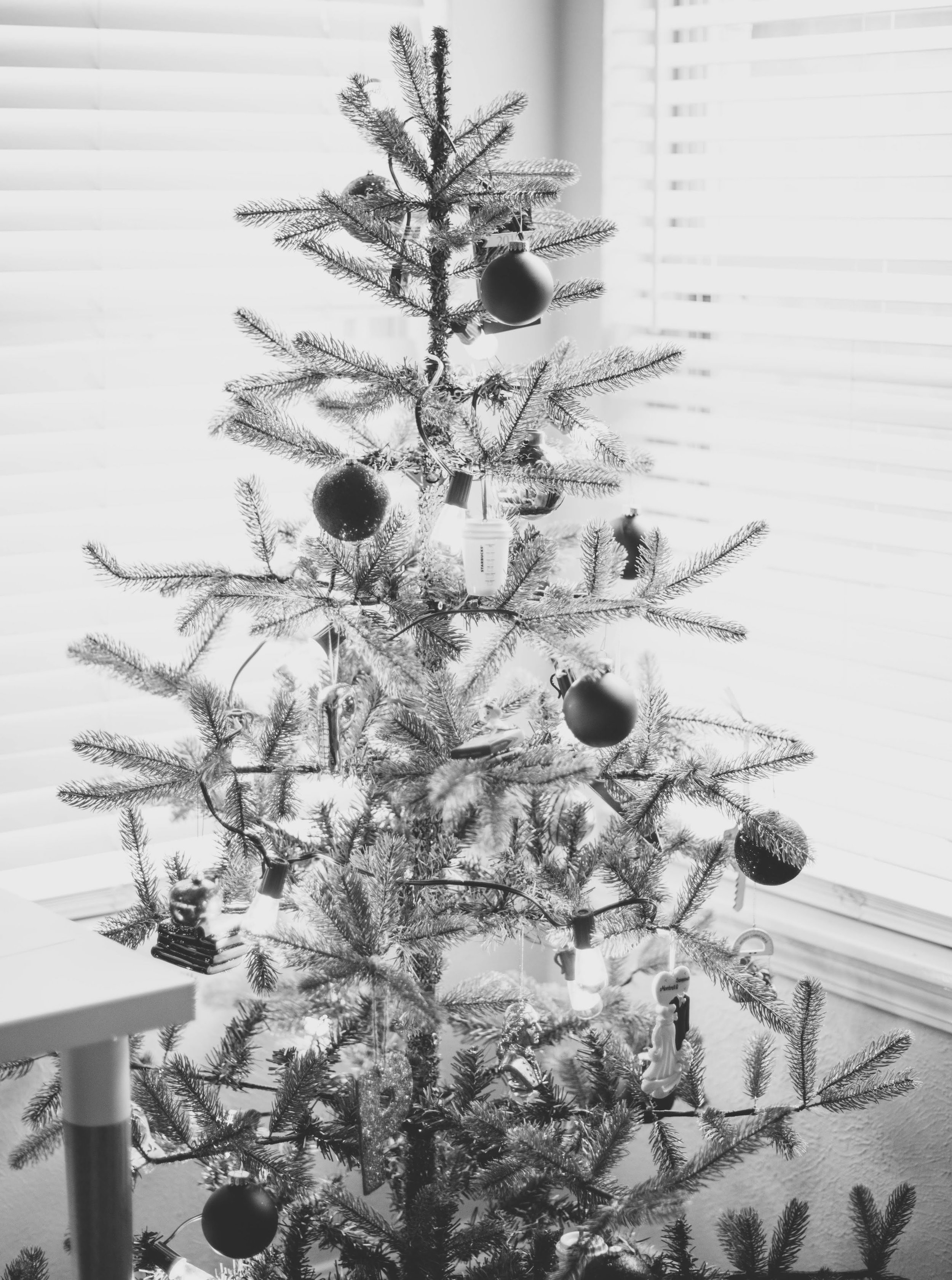 A small Christmas Tree with all the sentimental ornaments.