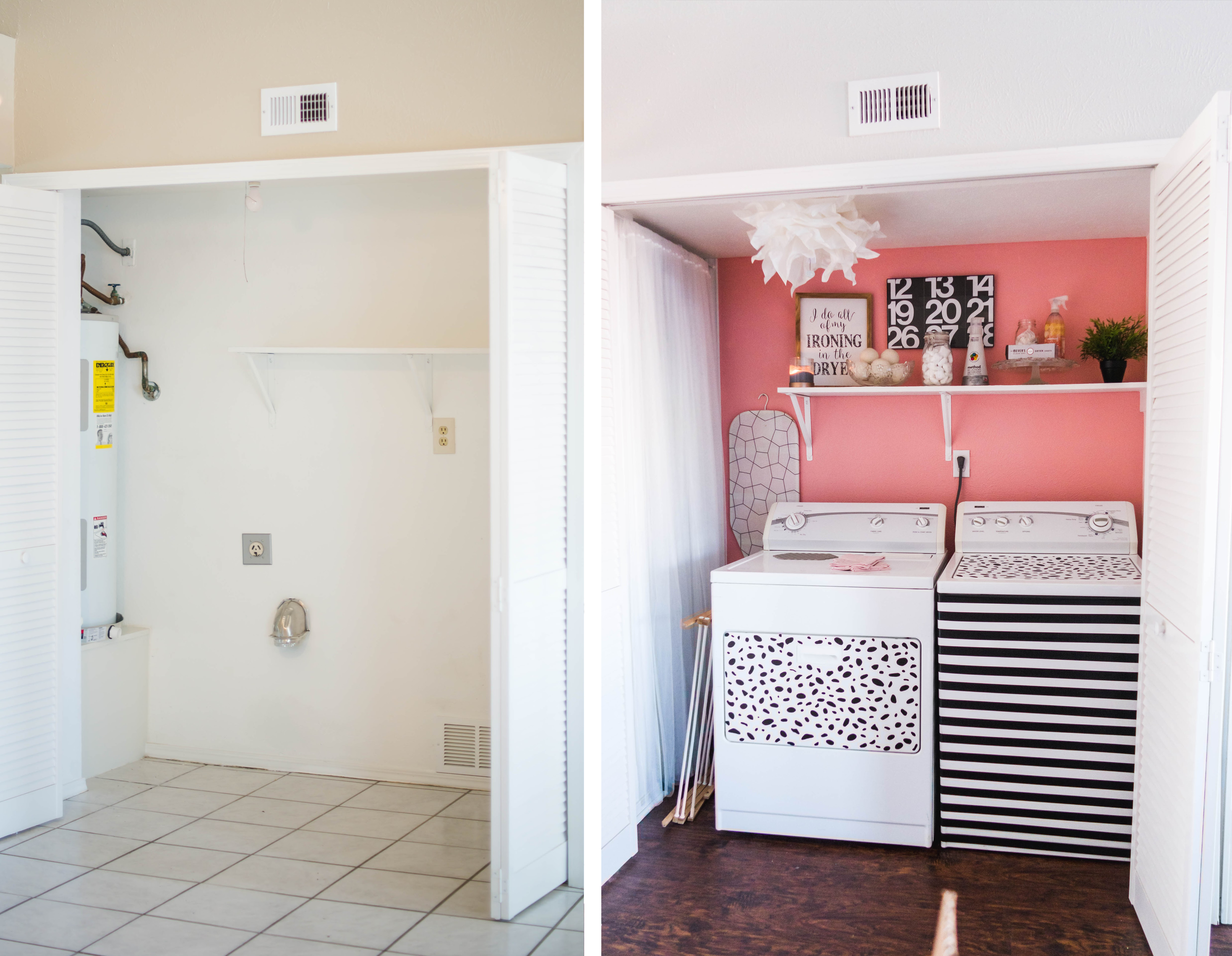Modern Pink Laundry Room Makeover