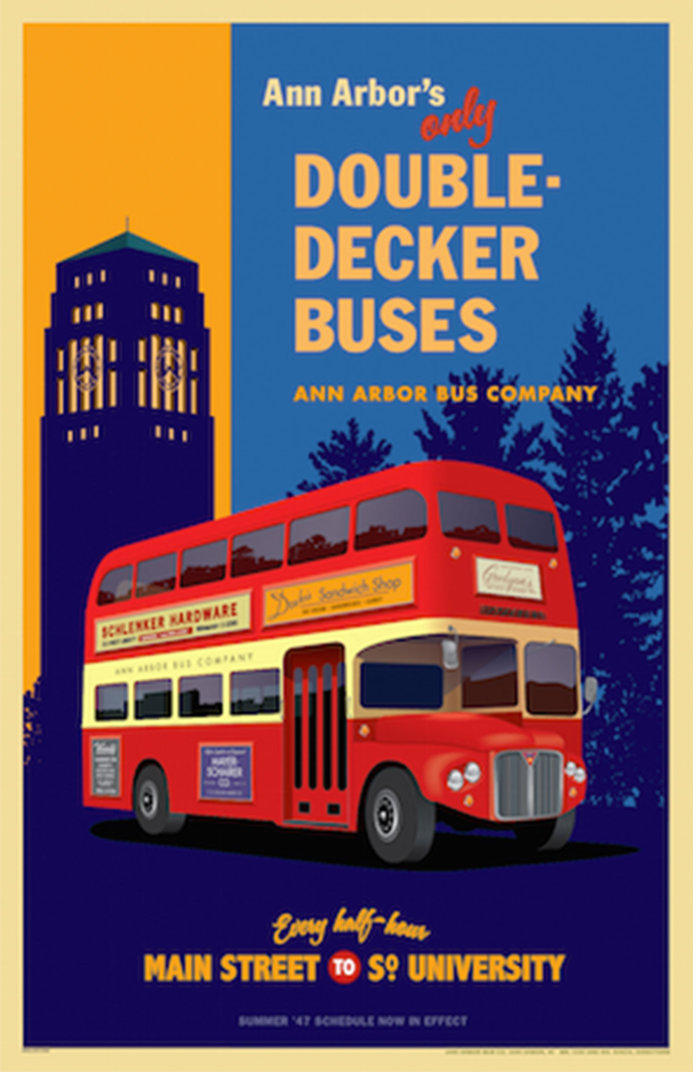 Ann Arbor Double Decker Buses Poster