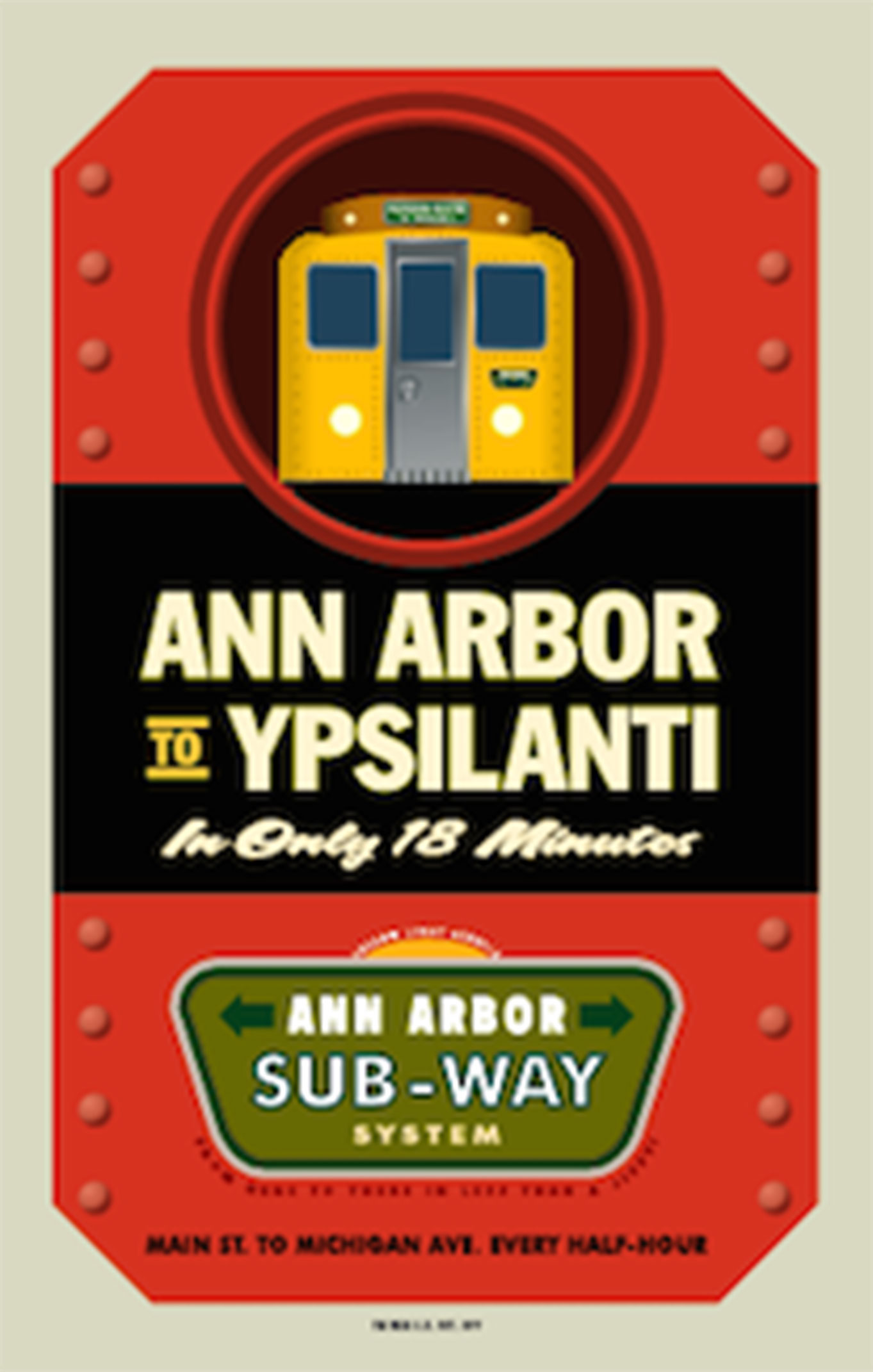 Ann Arbor to Ypsilanti Subway Poster