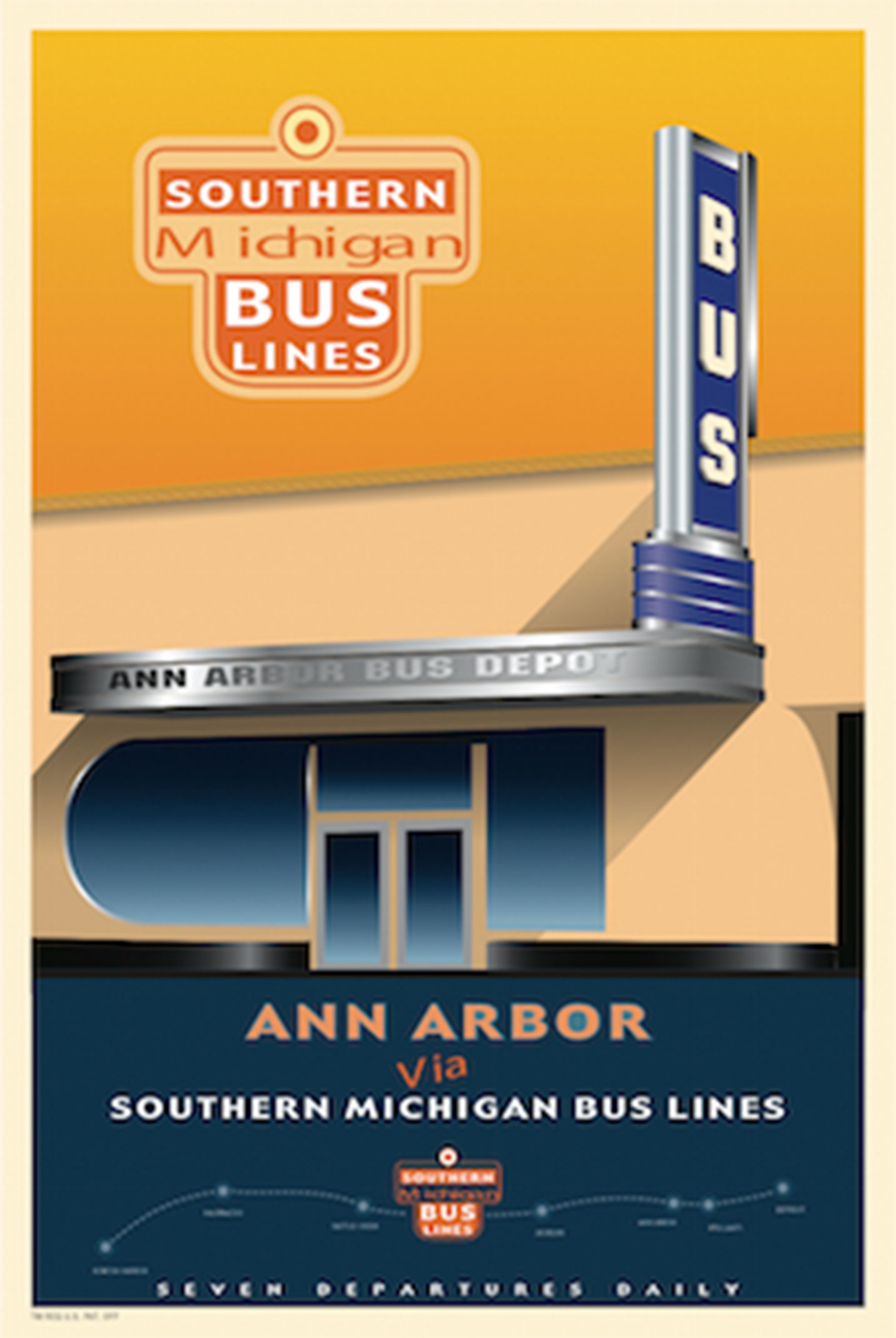 Southern Michigan Bus Lines Ann Arbor Poster